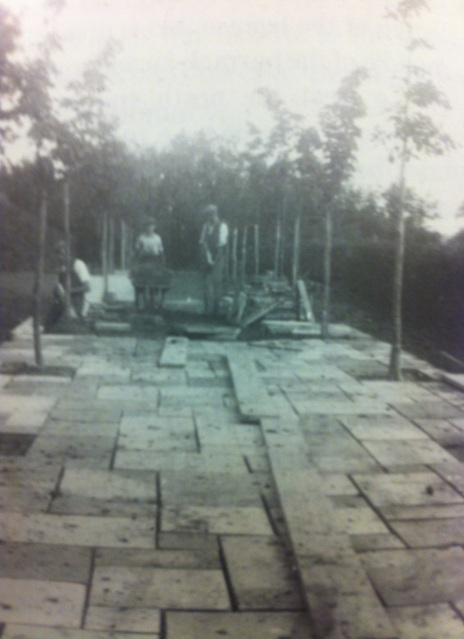The creation of the central path in the Lime Walk. Copyright Adam Nicolson.