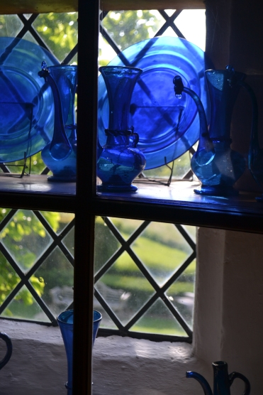 blue glass in tower