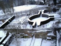 The Rose Garden and Rondel outlined in winter