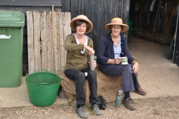Chris and Jean enjoying a well deserved break on their makeshift sofa.