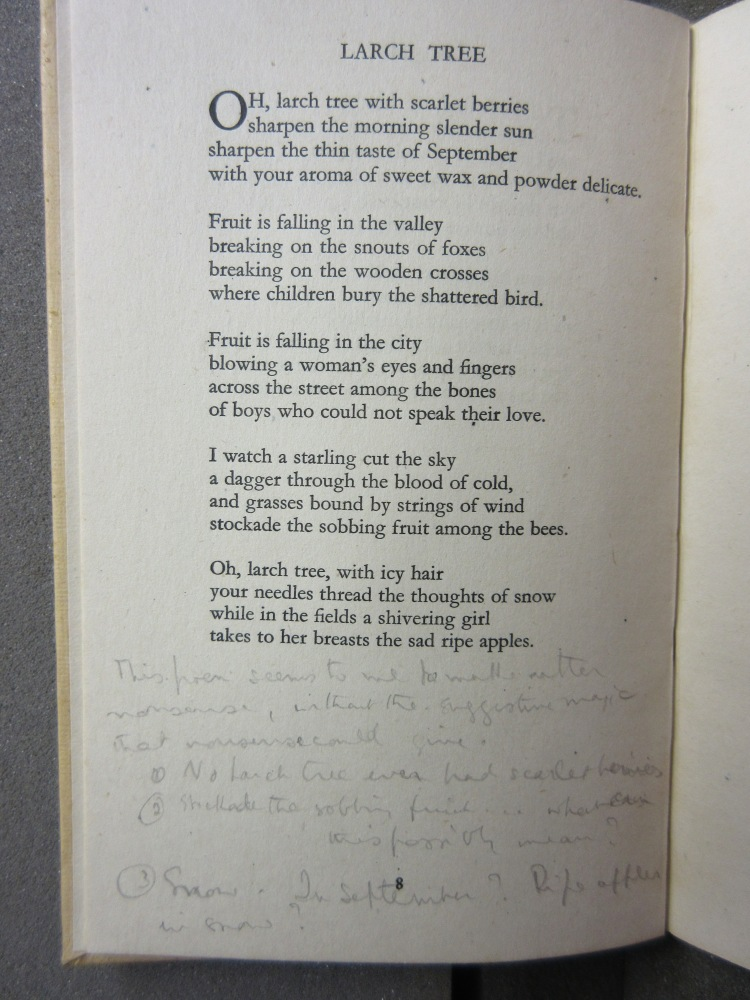Vita's annotation of Laurie Lee's 'The sun my monument' (1944)