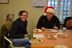 The Great British Mince Pie Bake-Off. Clemmie the chef and Paul the ranger judge the entries!