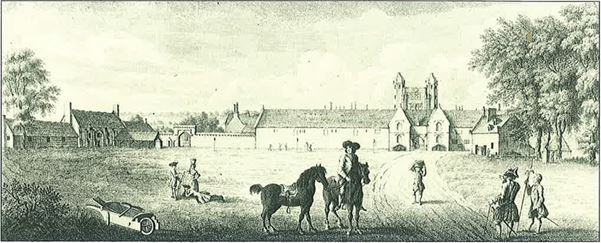 A drawing of Sissinghurst Castle in 1760, with the current Plain in the foreground and a pump just in front of the third tree on the right.