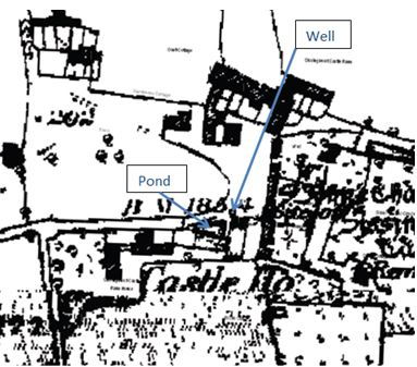 Farm outbuildings, pond and pump on the First Edition Ordnance Survey map of 1868