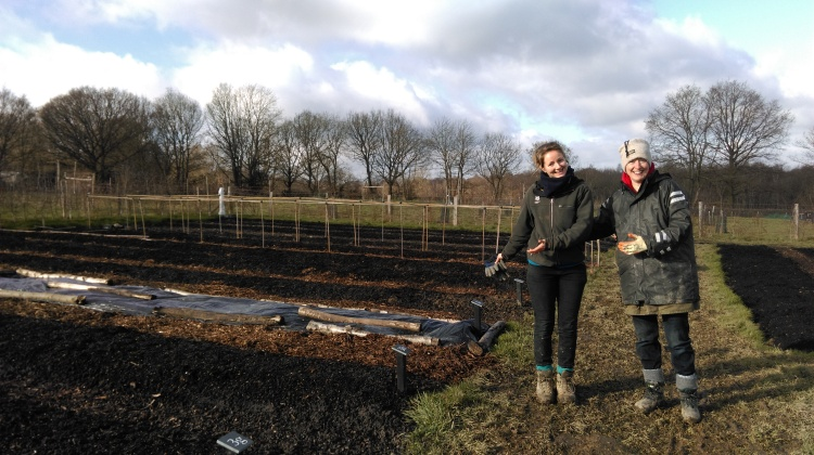 Helen, head veg gardener and Jane, veg garden volunteer