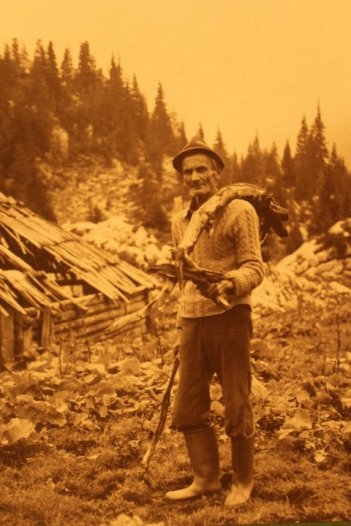 A traditional Alpine farmer